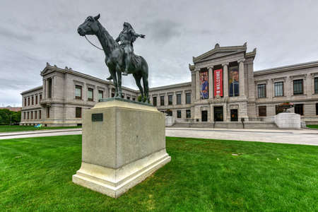 Boston, Massachusetts - September 5, 2016: Boston Museum of Fine Art facade with the Appeal to the Great Spirit monument. The Museum of Fine Arts is the fourth largest museum in the United States.
