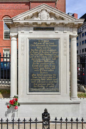Monument Inscription of the Boston Common  park at the corner of Park Street and Tremont Street.