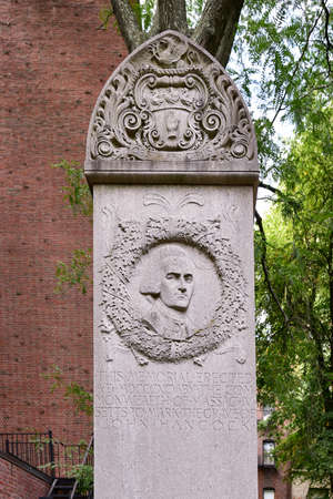 revere: The grave of American colonist and revolutionary Paul Revere in the Granary Burying ground in Boston in the summer. Stock Photo