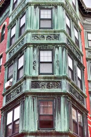 tripartite: Copper Tripartite, Bay Windows in the North End neighborhood of Boston, Massachusetts.