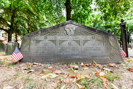 Famous landmark of history cemetery, the Granary Burying ground in Boston in the summer. Stock Photo