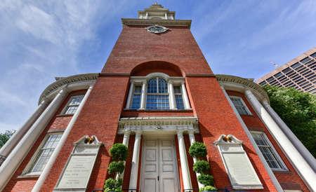 Park Street Church in Boston, Massachusetts on the Freedom Trail. Stock Photo