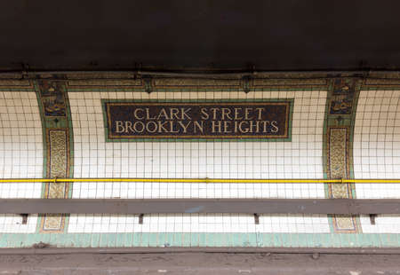florescent light: Brooklyn, New York - September 11, 2016: Clark Street Station in Brooklyn Heights of the New York City Subway, Metropolitan Transit Authority.