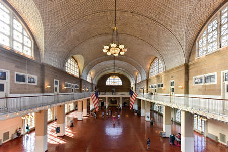 registry: The  Registry Room or Great Hall at Ellis Island National Park in New York.