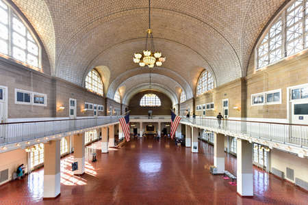 The  Registry Room or Great Hall at Ellis Island National Park in New York.