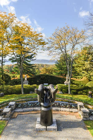 gothic revival: Sleepy Hollow, New York - October 21, 2012: Kykuit, the Rockefeller Estate. A grand mansion that was the Rockefeller home and is now a historic site of the National Trust for Historic Preservation.