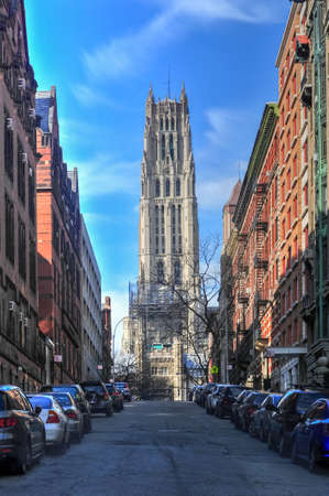 neogothic: The Riverside Church in the City of New York. It is famous for its large size and elaborate Neo-Gothic architecture.