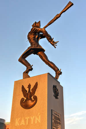 Katyn Massacre Memorial in Jersey City at Hudson River front - USA Editorial