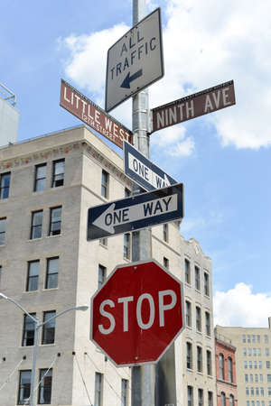 ninth: Street sign at Little West 12th Street and Ninth Avenue in New York City. Editorial
