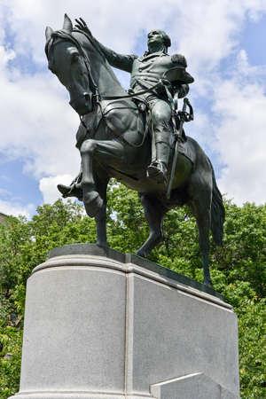 george washington statue: George Washington on horseback statue at Union Square in New York City. Editorial