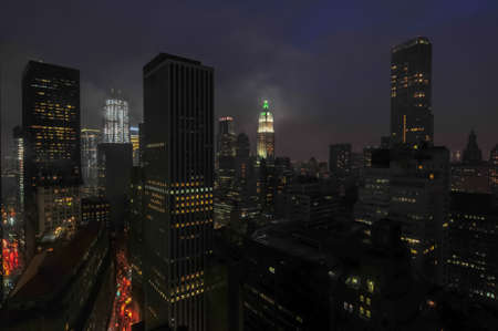 building estate: Aerial View of the skyscrapers of downtown Manhattan in New York City. Stock Photo