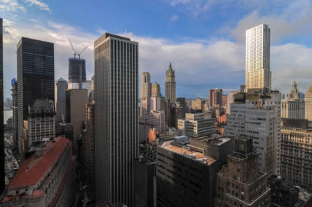 Aerial View of the skyscrapers of downtown Manhattan in New York City. Stock Photo
