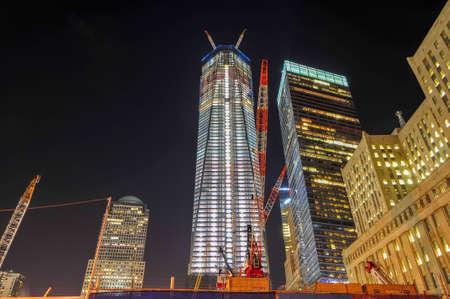 New York City - November 6, 2011: World Trade Center complex under construction in lower Manhattan.