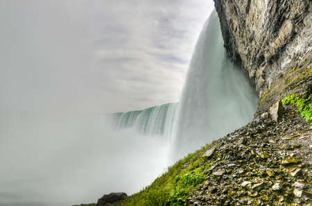 View of the underside of Horseshoe Falls, a part of Niagara Falls, In Canada. Stock Photo