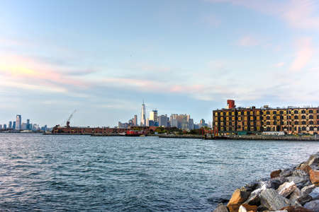 View of the Manhattan Skyline from Red Hook, Brooklyn, New York. Stock Photo