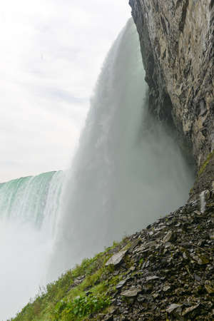 natural bridge state park: View of the underside of Horseshoe Falls, a part of Niagara Falls, In Canada. Stock Photo