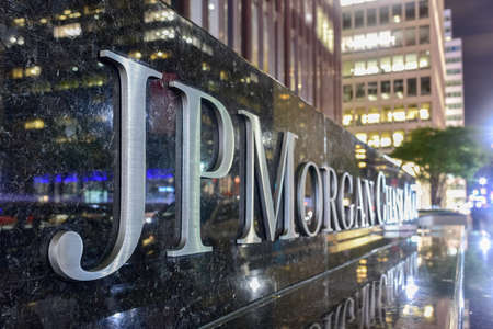 chasing: New York - October 29, 2016: The corporate sign in front of the JP Morgan Chase & Co office building on Park Avenue in New York City.