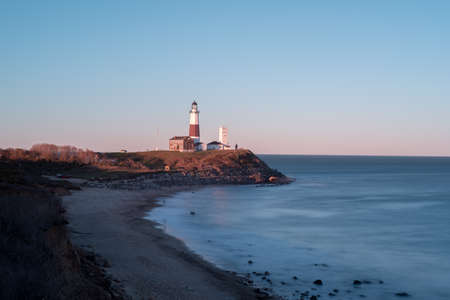 montauk: The Montauk Point Lighthouse located adjacent to Montauk Point State Park, at the easternmost point of Long Island, in the hamlet of Montauk in the Town of East Hampton in Suffolk County, New York.