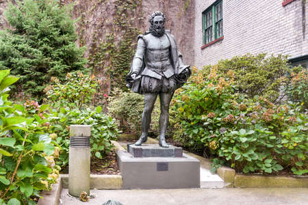 willy: Miguel de Cervantes Statue in Willy's Garden near New York University in the Greenwich Village neighborhood of Manhattan, New York City.
