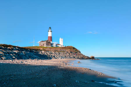 The Montauk Point Lighthouse located adjacent to Montauk Point State Park, at the easternmost point of Long Island, in the hamlet of Montauk in the Town of East Hampton in Suffolk County, New York.
