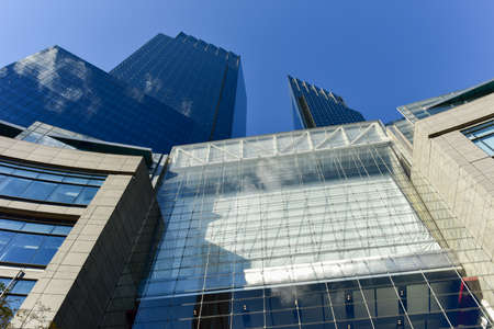 New York City - November 6, 2016: Time Warner Center is a twin-tower building consisting of two 750 ft (229 m) twin towers bridged by a multi-story atrium containing upscale retail shops.