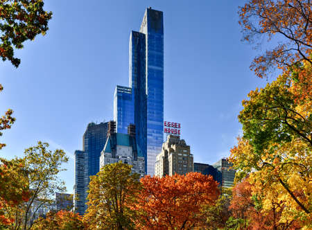 View of Central Park South in New York City in the Autumn.