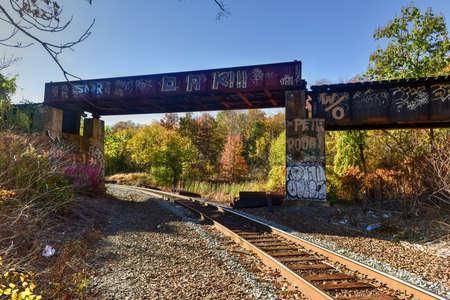 vandalism: Train tracks going through Jersey City, New Jersey.