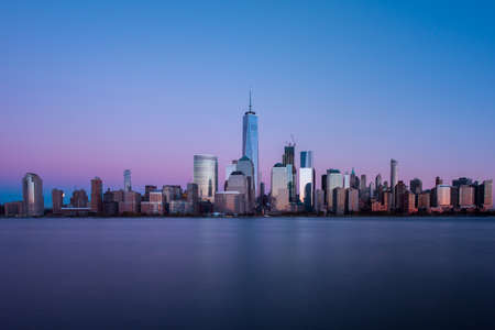 New York skyline as viewed across the Hudson River in New Jersey at sunset. Stock Photo