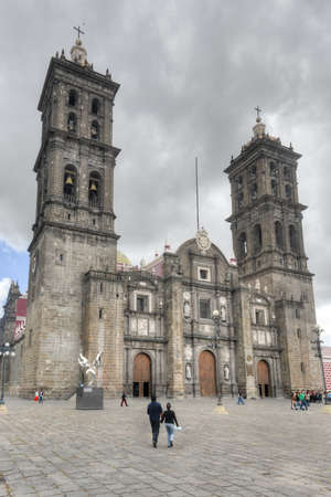 Puebla, Mexico - July 6, 2013: Puebla Cathedral  Roman Catholic cathedral in the city of Puebla, Mexico. It is a colonial cathedral, and is the see of the Roman Catholic Archdiocese of Puebla.