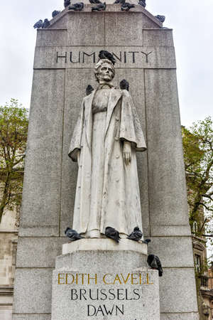 Memorial to Edith Cavell at St. Martins Place in London, United Kingdom. Editorial