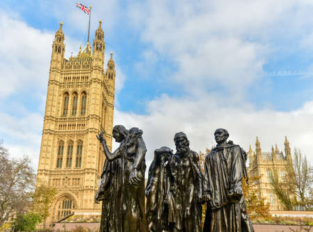 London, United Kingdom - November 24, 2016: The Burghers of Calais monument by Auguste Rodin close to the Houses of Parliament in Victoria Tower Gardens.