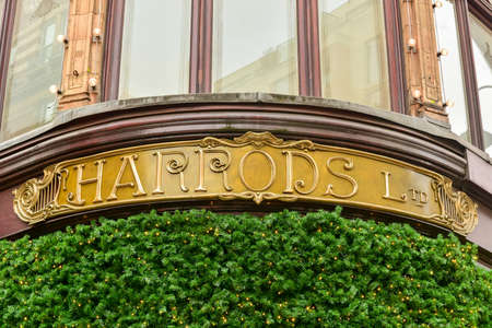 harrods: London, UK - November 24, 2016: View of famous department store Harrods (80,000 sq m) in London. First Harrods was opened at 1849 and now it is one of the most famous luxury store in London. Editorial