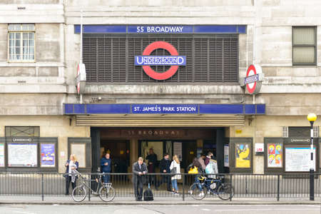 st jamess: London, UK - November 24, 2016: St. Jamess Park London Underground station near St. Jamess Park in the City of Westminster, central London. Editorial