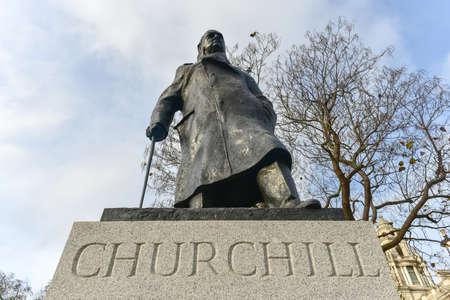 churchill: Statue of Sir Winston Churchill in Parliament Square Garden in London. Editorial