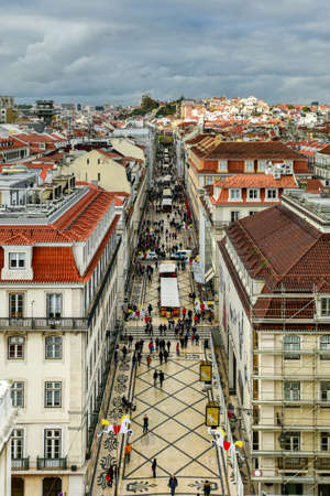Aerial view of Augusta Street near Commerce Square in Lisbon, Portugal. Stock Photo