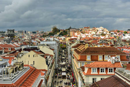 croud: Aerial view of Augusta Street near Commerce Square in Lisbon, Portugal. Editorial