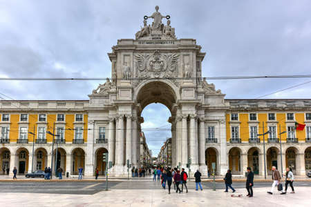 Lisbon, Portugal - November 25, 2016: Augusta Street Triumphal Arch in the Commerce Square, Praca do Comercio or Terreiro do Paco in Lisbon, Portugal. Editorial