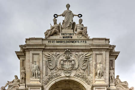 Augusta Street Triumphal Arch in the Commerce Square, Praca do Comercio or Terreiro do Paco in Lisbon, Portugal. Stock Photo