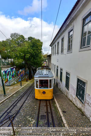 tramway: Lisbon, Portugal - November 25, 2016: Gloria Funicular in the city center of Lisbon, Portugal. Editorial