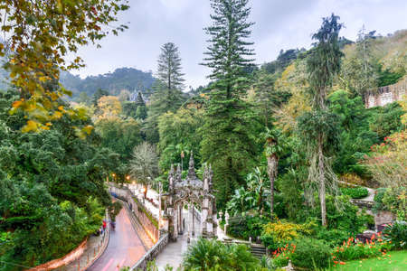 quinta: Palace Quinta da Regaleira is an estate located near the historic center of Sintra, Portugal. It is classified as a World Heritage Site by UNESCO within the Cultural Landscape of Sintra. Stock Photo