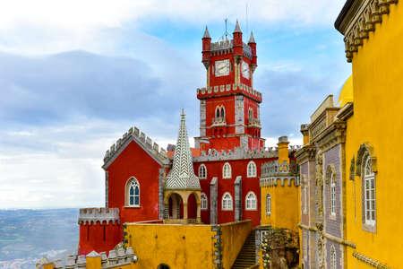 Palacio da Pena in Sintra, Lisboa, Portugal, Europe. It is a Romanticist castle in Sao Pedro de Penaferrim, in the municipality of Sintra, Portugal.