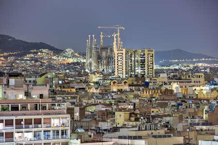 Barcelona Skyline at night in Catalonia, Spain. Stock Photo
