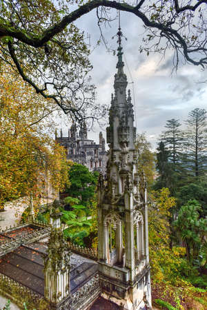 Palace Quinta da Regaleira is an estate located near the historic center of Sintra, Portugal. It is classified as a World Heritage Site by UNESCO within the Cultural Landscape of Sintra. Stock Photo