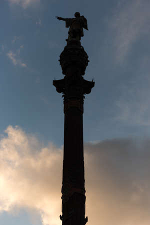 ramblas: Silhouette of Monument dedicated to the famous Italian navigator Cristoforo Colombo (Christopher Columbus) in Barcelona, Spain.