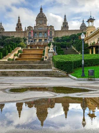 montjuic: Placa de Espanya, the National Museum in Barcelona, Spain.