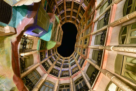 Barcelona, Spain - November 29, 2016: Casa Mila, better known as La Pedrera. This famous building was designed by Antoni Gaudi, included in the list of UNESCO.