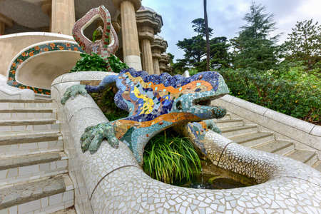 Lizard in Park Guell in Barcelona, Spain is a public park system composed of gardens and architectonic elements located on Carmel Hill, in Barcelona, Catalonia (Spain). Editorial