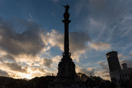 catalunya: Silhouette of Monument dedicated to the famous Italian navigator Cristoforo Colombo (Christopher Columbus) in Barcelona, Spain.