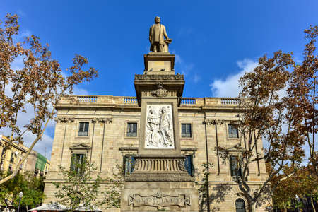 philanthropist: Antoni Lopez y Lopez - Barcelona  Monument (1884) dedicated to Antonio Lopez y Lopez (1817-1883) first marquis of Comillas, he was a businessman, banker and Spanish philanthropist - Barcelona. Stock Photo