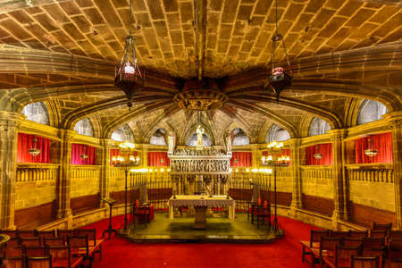 Barcelona, Spain - November 29, 2016: Interior of the 14th century Gothic Barcelona Cathedral (Catedral de Barcelona)